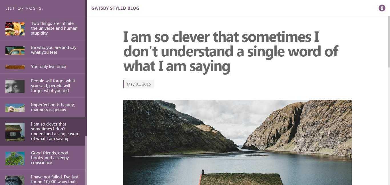 PersonalBlog - a blog starter for GatsbyJS
